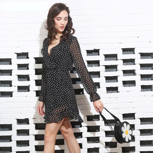 RUFFLE POLKADOT DRESS Color : Black Dot|As Picture|As Picture|As Picture