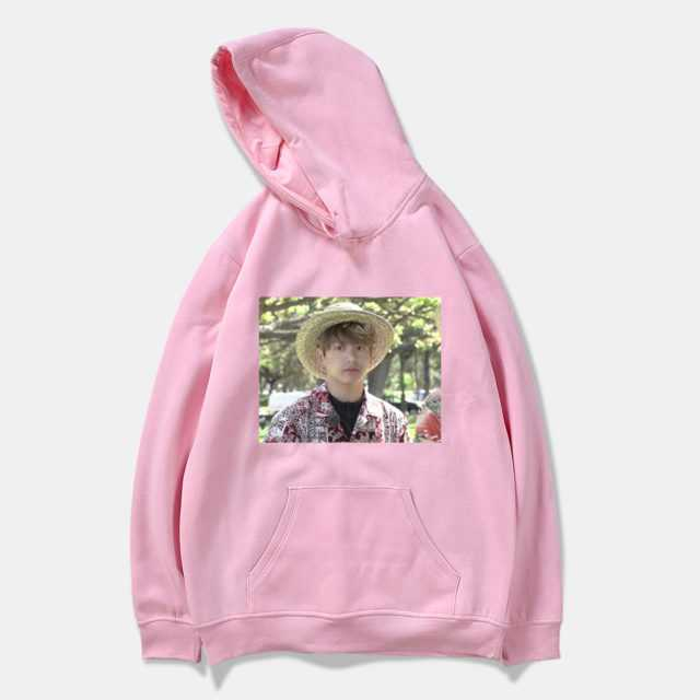 JUNGKOOK PHOTOS HOODIE (6 VARIAN) Color : black|white|Gray|Navy Blue|Pink|Red