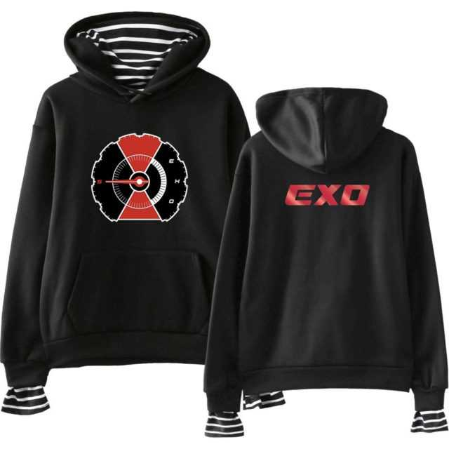EXO STRIPED HOODIE (15 VARIAN) Color : black|white|gray|navy|pink|black|white|gray|navy|pink|black|white|gray|navy|pink