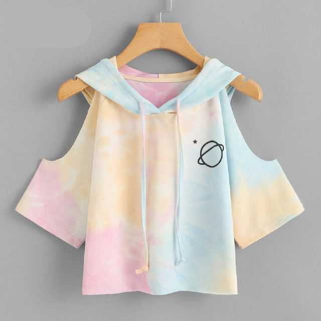 OPEN SHOULDER WATER COLOR HOODIE Color : Multi