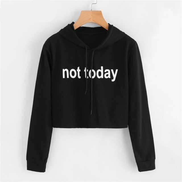 BTS NOT TODAY CROP TOP HOODIE Color : Black