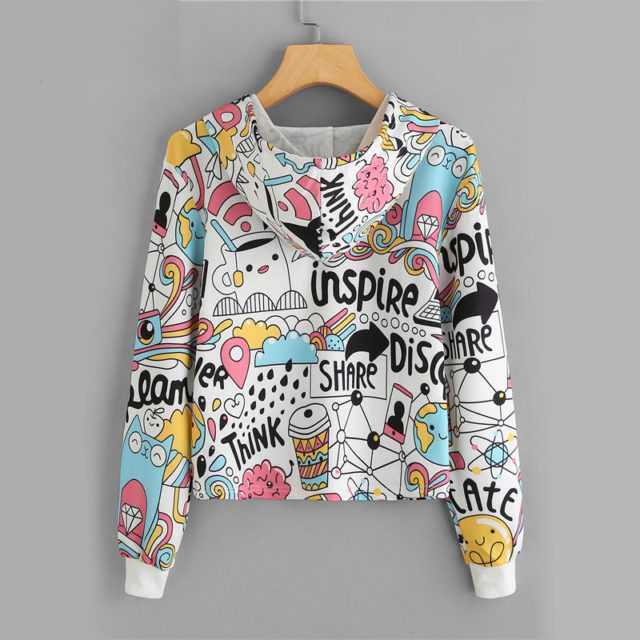 GRAPHIC DRAWSTRING PRINT CROP HOODIE Color : Multi