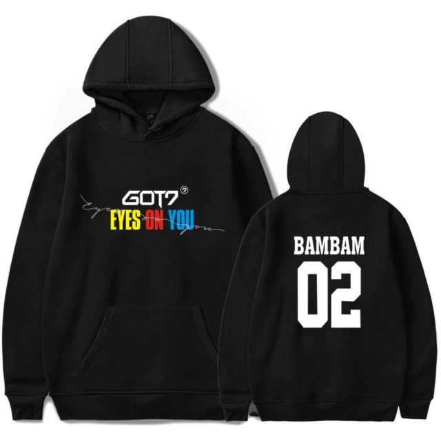 GOT7 EYES ON YOU HOODIE (26 VARIAN) Color : Black 02 BAMBAM|Black 04 MARK|Black 06 JB|Black 17 YOUNGJAE|Black 22 JR|Black 28 JACKSON|Black 97 YUGYEOM|Red 02 BAMBAM|Red 04 MARK|Red 06 JB|Red 17 YOUNGJAE|Red 22 JR|Red 28 JACKSON|Red 97 YUGYEOM|White 02 BAMBAM|White 04 MARK|White 06 JB|White 17 YOUNGJAE|White 22 JR|White 28 JACKSON|White 97 YUGYEOM|navy|pink|white|Gray|black
