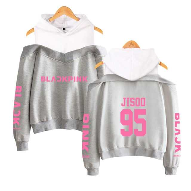 BLACKPINK OFF-SHOULDER HOODIE (32 VARIAN) Color : black|gray|navy|pink|black|gray|navy|pink|black|gray|navy|pimk|black|gray|navy|pink|black|gray|navy|pink|black|gray|navy|pink|black|gray|navy|pink|black|gray|navy|pink