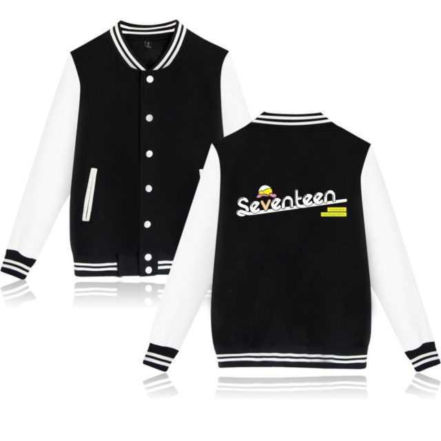 SEVENTEEN BASEBALL JACKET Color : Black|Pink|Navy|Gray