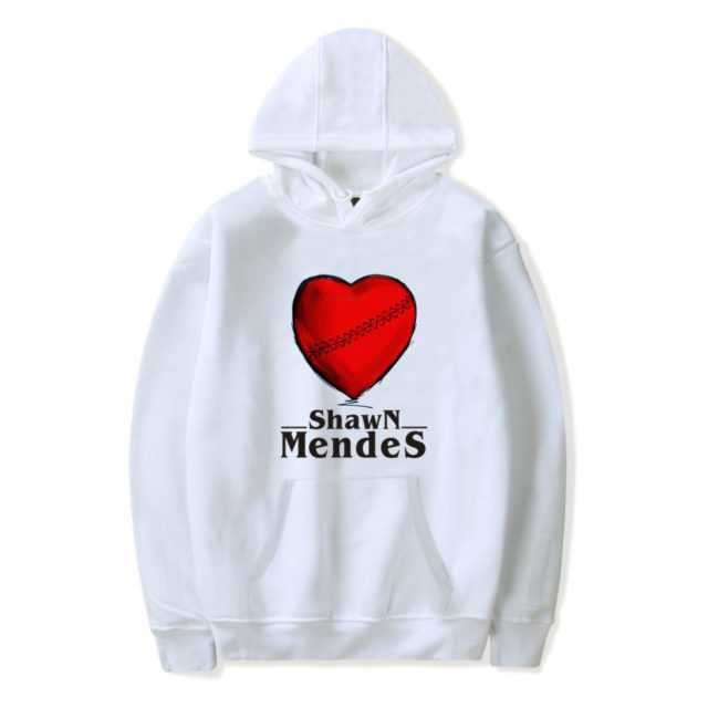 SHAWN MENDES A RED LOVE HEART HOODIE (6 VARIAN) Color : Black|white|navy|gray|red|pink