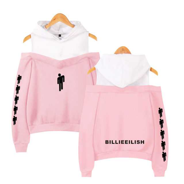 BILLIE EILISH OFF SHOULDER HOODIE (13 VARIAN) Color : black|grey|navy blue|pink|Brown|Gold|Gray|Dark Grey|Green|Army Green|Ivory|Khaki