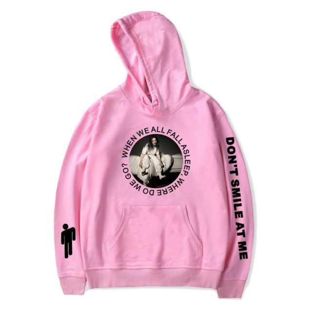 BILLIE EILISH HOODIE (17 VARIAN) Color : White|Black|White|Black|Gray|NAVY|Gray|Red|NAVY|Black|Gray|Pink|Red|White|NAVY|Red|Pink|Pink