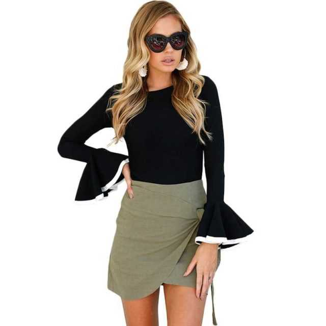 FLARE SLEEVE BLOUSE (2 COLORS)