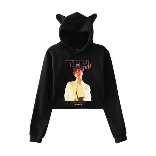 Frdun Tommy Kpop 2019 NEW Team super M NEW Album SuperM Print fashion Cat ears Top Women Hoodies Sweatshirt Sexy clothes
