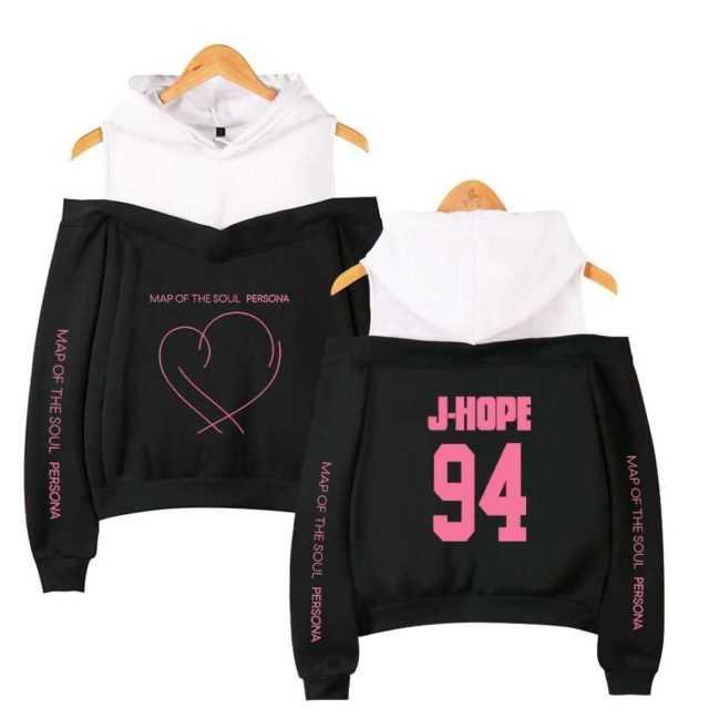 Map of the soul persona Sweatshirt Hoodie JIMIN RM JUNG KOOK Women hip hop casual off shoulder Hoodies Present For Youth Girls