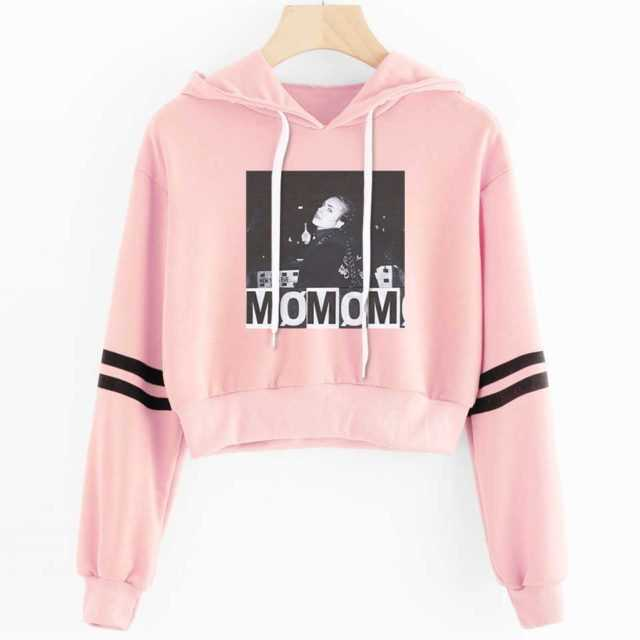 Momomoyouth Crop Top Hoodie Harajuku Kawaii Kpop Fashion Crop Hoodies Sweatshirts Casual Hip Hop Punk Korean Women Clothing