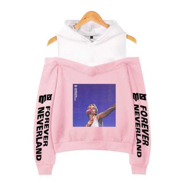 Momomoyouth Custom Hooded MO Forever Neverland Harajuku Kawaii Off The Shoulder Hoodie Korean Street Kpop Fashion Cropped Hoodie