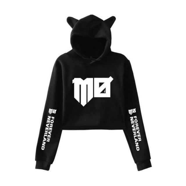 Momomoyouth Hoodies Korean Fashion Kawaii Cat Crop Top Women Custom Hoodies Sweatshirt Sexy Kpop Harajuku Instagram Clothing MO