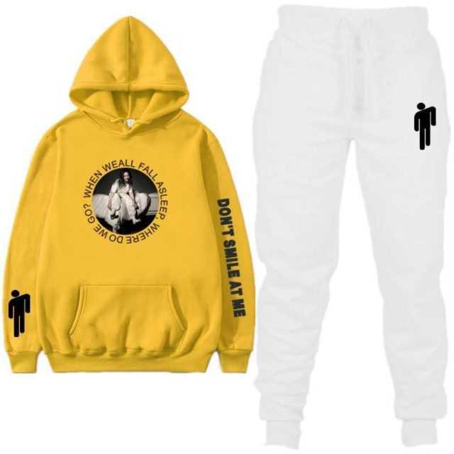 Singer Billie Eilish Fashion Print Tracksuit Women Autumn Winter Streetwear Tracksuit Men Hip Hop Hoodie Sweatshirt Suit 2019