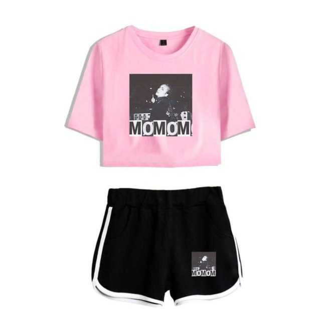 Women Outfits 2019 Momomoyouth 2 Piece Set Women MO Forever Neverland Harajuku Hip Hop Shorts+T-shirt Two Piece Set Crop Top