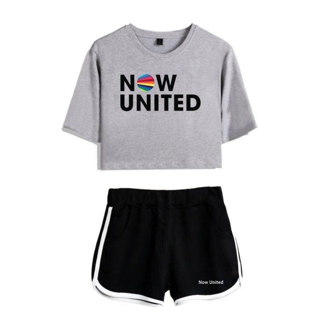 Now United - Better Album Women Two Piece Set Shorts+lovely T-shirt Better Now United Lyrics Harajuku Streetwear Hot Girl Sets