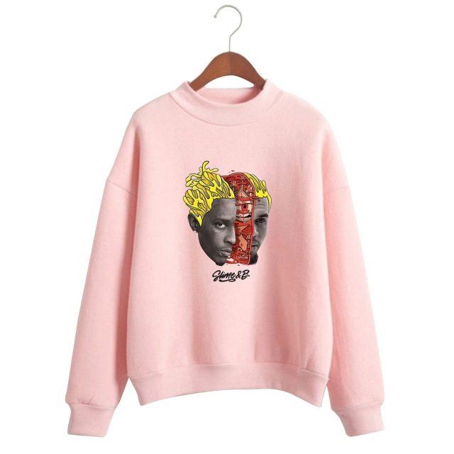 Chris Brown & Young Thug Go Crazy Turtleneck Sweatshirt Women Fashion Long Sleeve Sweatshirt Streetwear Kpop Clothes
