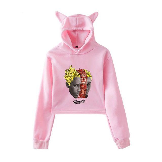 Chris Brown & Young Thug Go Crazy Crop Hoodie Sweatshirts Women Print  Harajuku hoodie Girl Pullover Sweatshirts