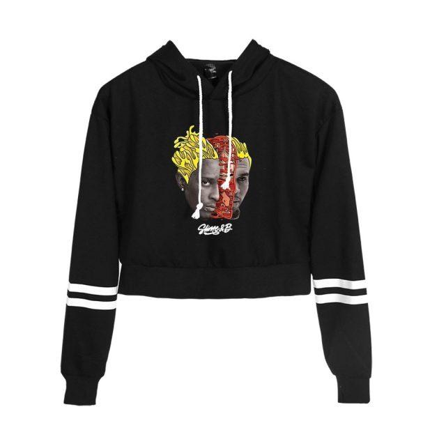 Chris Brown & Young Thug Go Crazy Crop hoodies women Print hoodie Hand sleeve Sweatshirt Unisex Pullover Tracksuit
