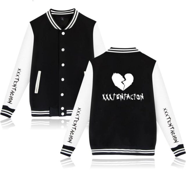 XXXTentacion Baseball Jackets Hip Hop Collage Style Baseball Long Sleeve Jackets Men/Women Clothing Plus Size Men's sweatshirt