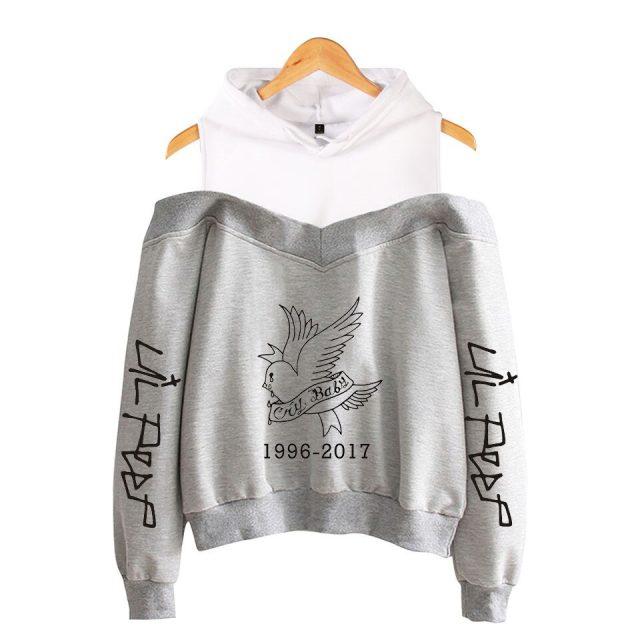 Lil Peep Off-shoulder Exclusive Kpop Cool Hoodies Sweatshirt Solar system 2018 New Fashion Women's Sexy Sweatshirt