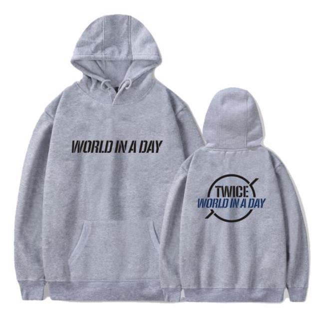 New K Pop Kpop Hoodie Twice Concert World In A Day Same Printing Pullover Loose Hoodies Kpop Unisex Fleece Sweatshirt Pullovers